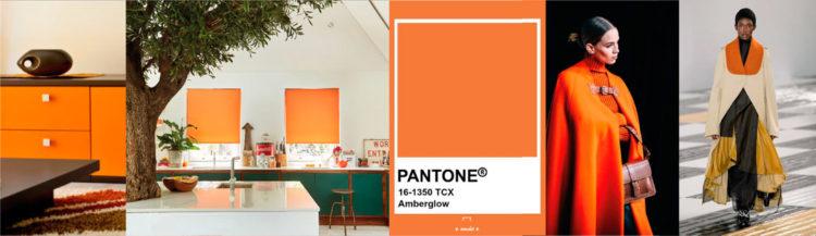 Amberglow PANTONE 16-1350  Imagen compuesta con muestra de color + ejemplos de moda y decoración  colores-otono-invierno-2020