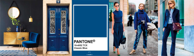 Classic Blues PANTONE 19-4052 Imagen compuesta con muestra de color + ejemplos de moda y decoración colores-otono-invierno-2020