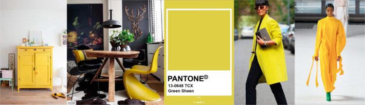 Green Sheen PANTONE 13-0648 Imagen compuesta con muestra de color + ejemplos de moda y decoración
