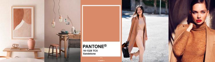 Sandstone PANTONE 16-1328 Imagen compuesta con muestra de color + ejemplos de moda y decoración colores-otono-invierno-2020