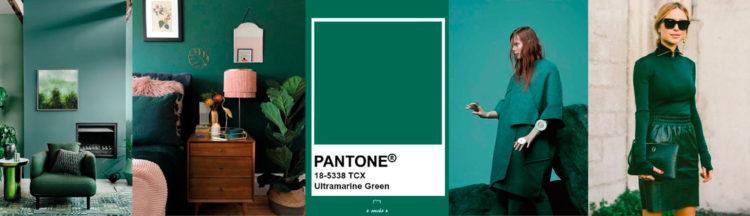 Ultramarine Green PANTONE 18-5338 Imagen compuesta con muestra de color + ejemplos de moda y decoración