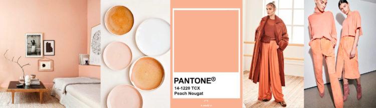 Peach Nougat PANTONE 14-1220 Imagen compuesta con muestra de color + ejemplos de moda y decoración colores-otono-invierno-2020