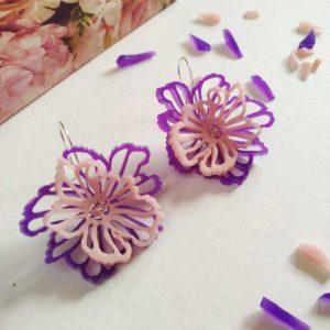 pendientes de flores SAKURA color morado y rosa